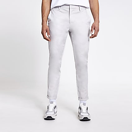 Light grey skinny chino trousers