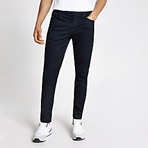 Navy Sid skinny chino trousers
