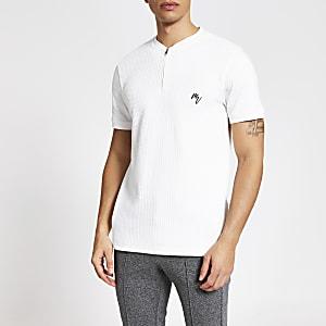 Maison Riviera – Slim Fit Baseballshirt in Ecru