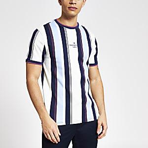 Maison Riviera - Blauw gestreept slim-fit T-shirt