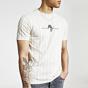 Maison Riviera – T-shirt slim grège à rayures