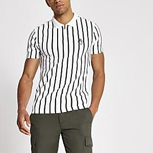 Maison Riviera – Weißes Slim Poloshirt mit Streifen