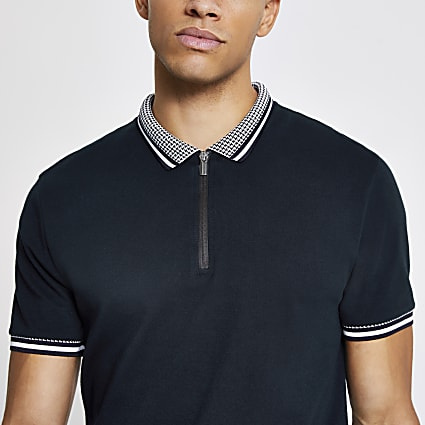 Navy dogtooth tipped half zip slim polo shirt