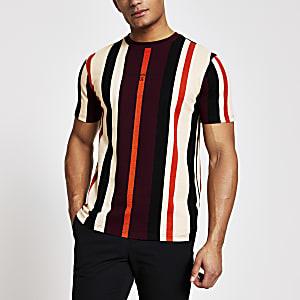 Maison Riviera – Rotes Slim Fit T-Shirt mit Streifen