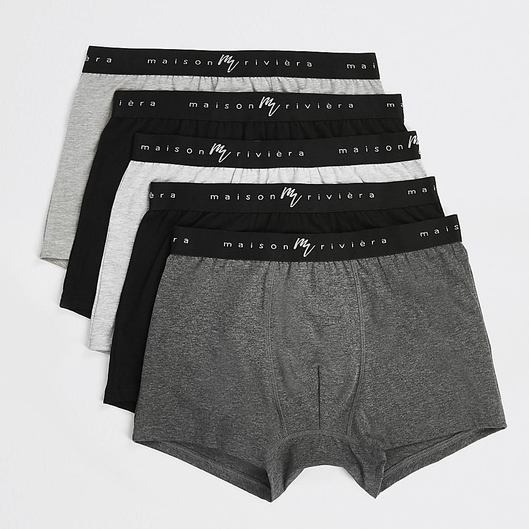 MaisonRiviera- Grijze strakke boxers set van 5