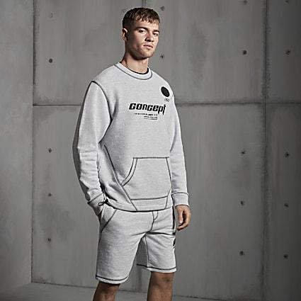 Concept grey contrast stitch shorts