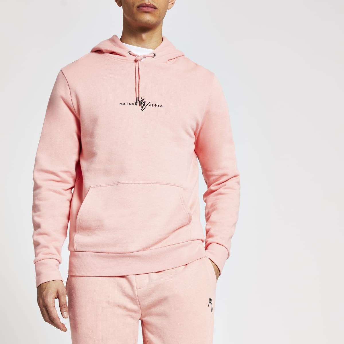 Maison Riviera coral slim fit hoodie