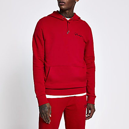 Prolific red slim fit hoodie