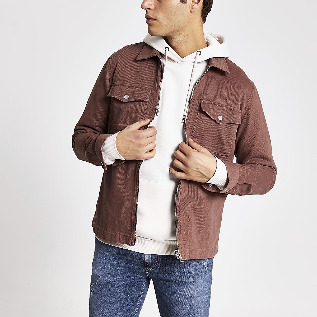 Brown zip front regular fit overshirt