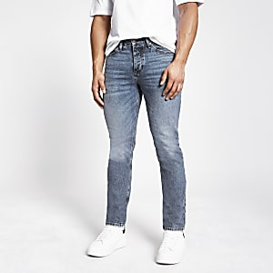Middenblauwe authentiek denim slim-fit Dylan jeans