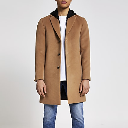Camel hooded longline overcoat