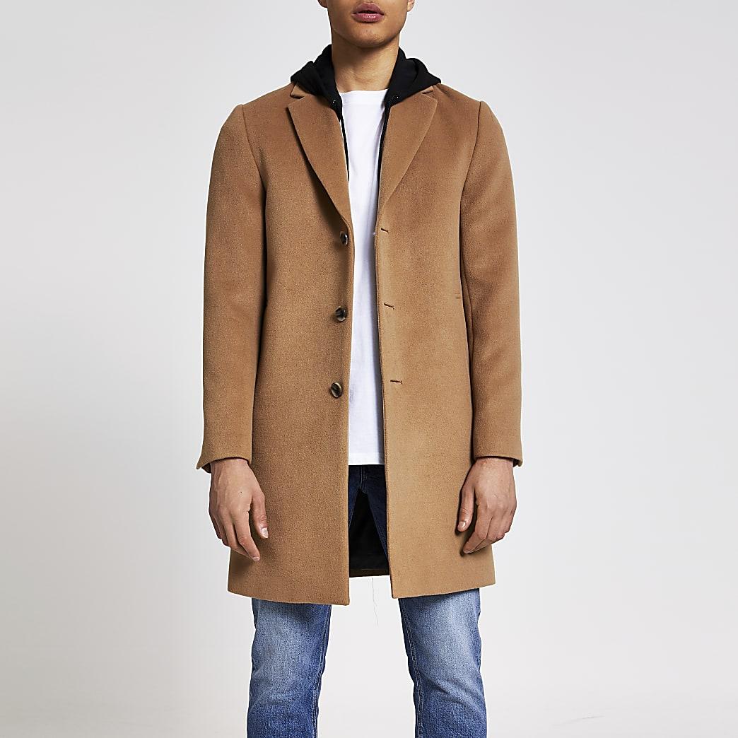 Camel hooded longline overcoat