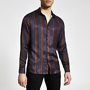 Marineblauw gestreept slim-fit overhemd met lange mouwen