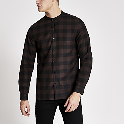 Brown check slim fit grandad collar shirt