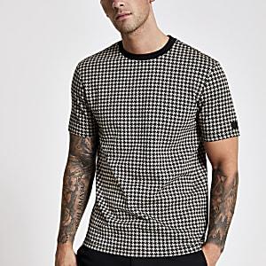 Bruin slim-fit geruit jacquard T-shirt met print