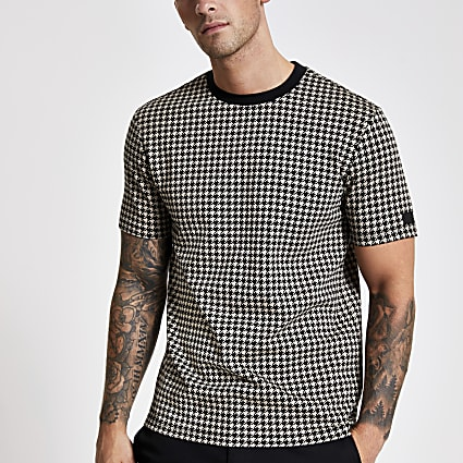 Brown slim fit jacquard check print T-shirt