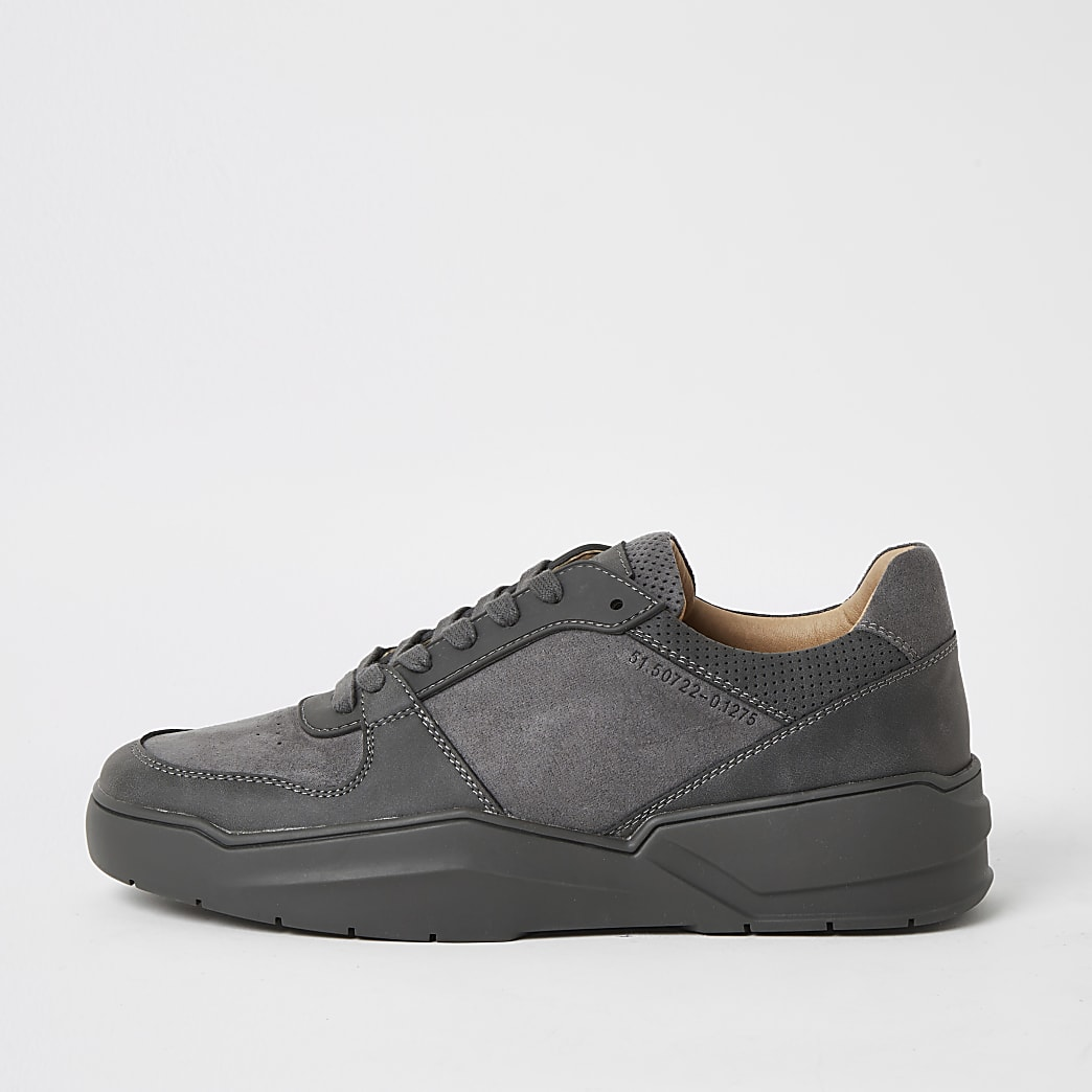 Grey lace-up chunky trainers