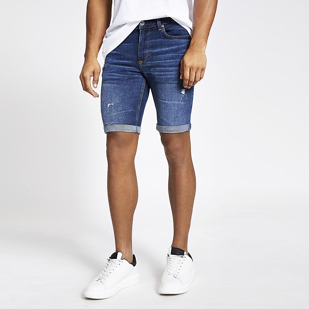 Blauwe skinny-fit rippedSid denim short
