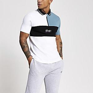 Prolific – Weißes Poloshirt in Blockfarben mit Reißverschluss