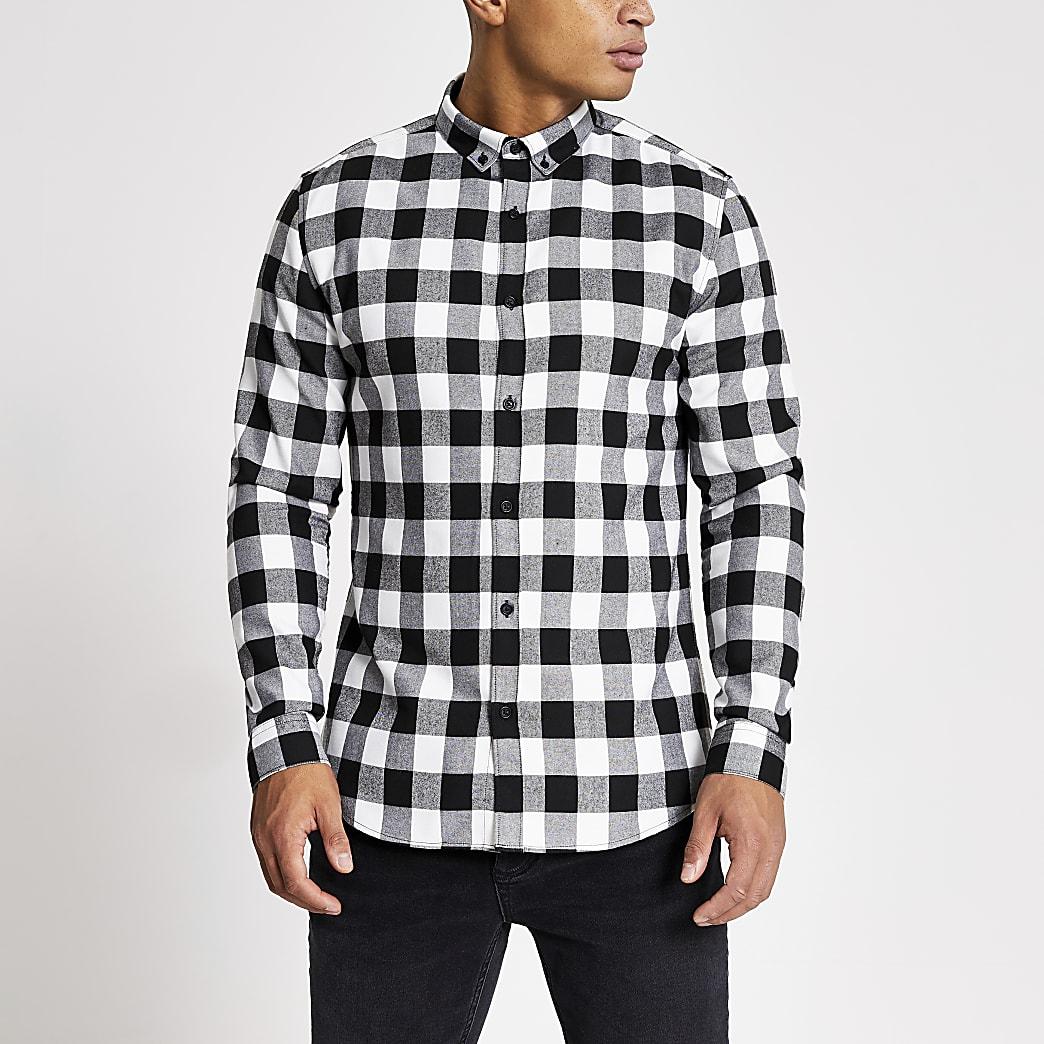 Ecru geruit slim-fit overhemd met lange mouwen