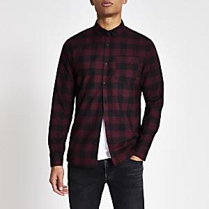 Rot kariertes Slim Fit Hemd mit langen Ärmeln