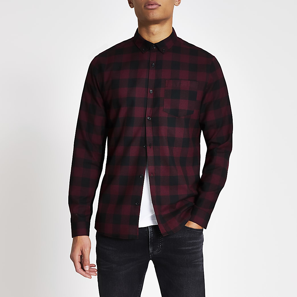 Red check long sleeve slim fit T-shirt