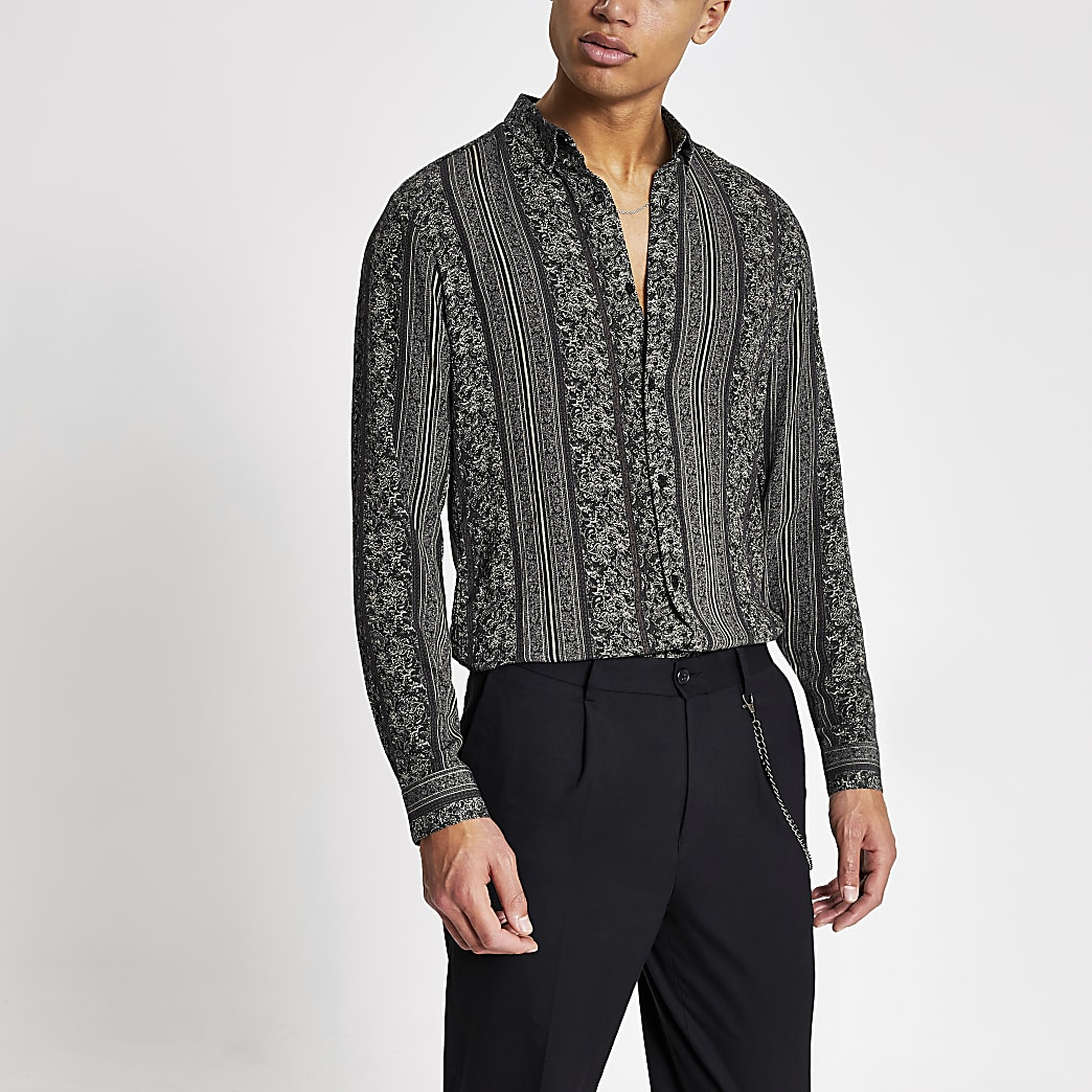Black aztec printed slim fit shirt