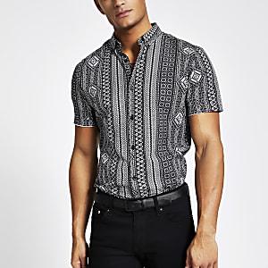 Blauw gestreept slim-fit overhemd met Aztekenprint