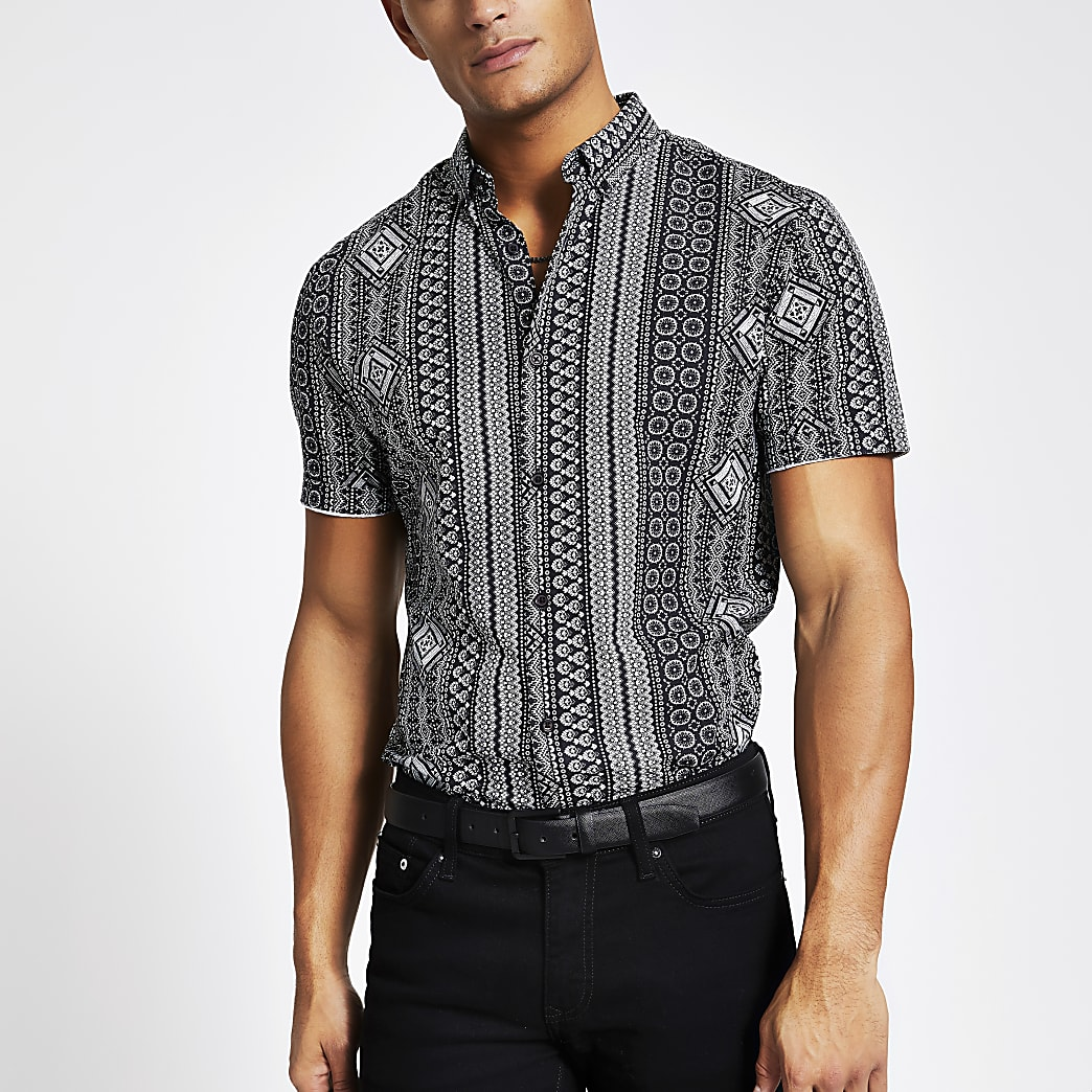 Black aztec stripe slim fit shirt