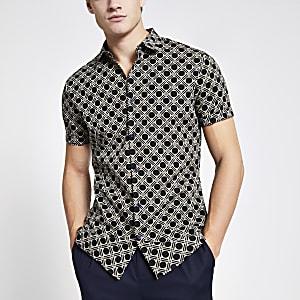 Marineblauw slim-fit overhemd met geoprint