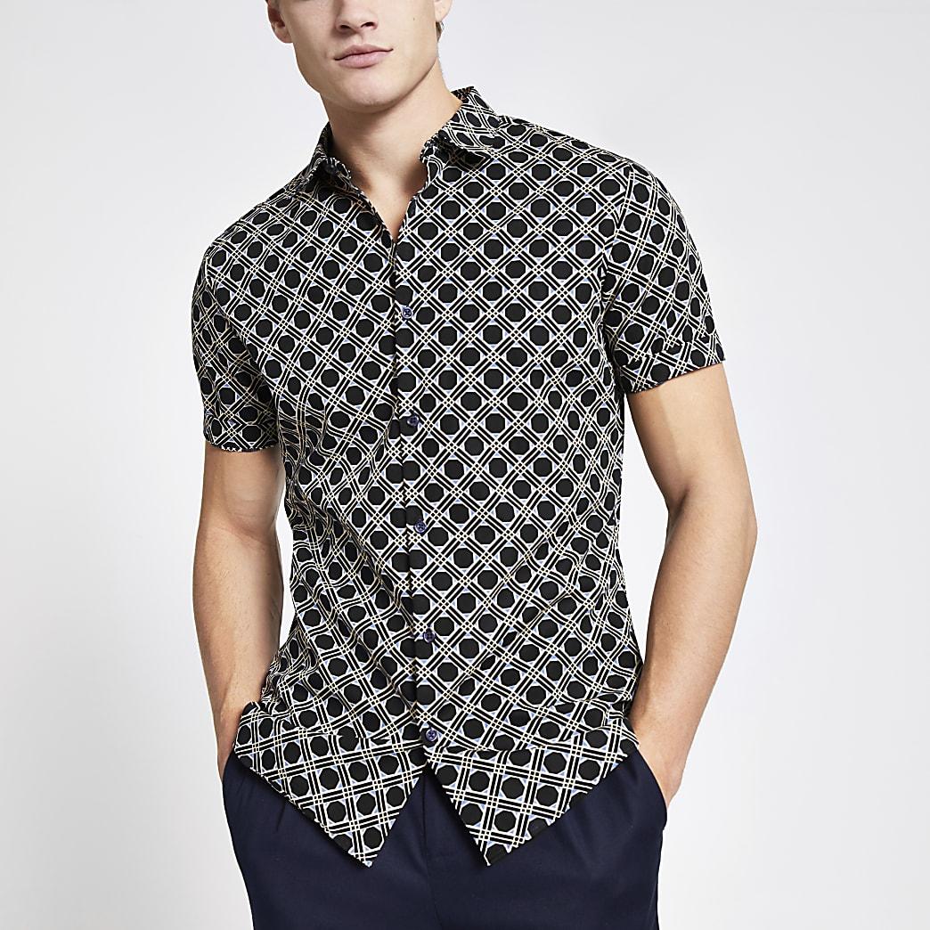 Navy geo printed slim fit shirt