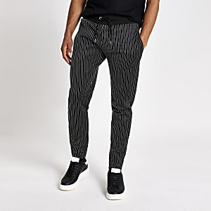 Black pinstripe slim fit joggers