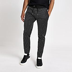 Pantalon de jogging slim noir à rayures fines