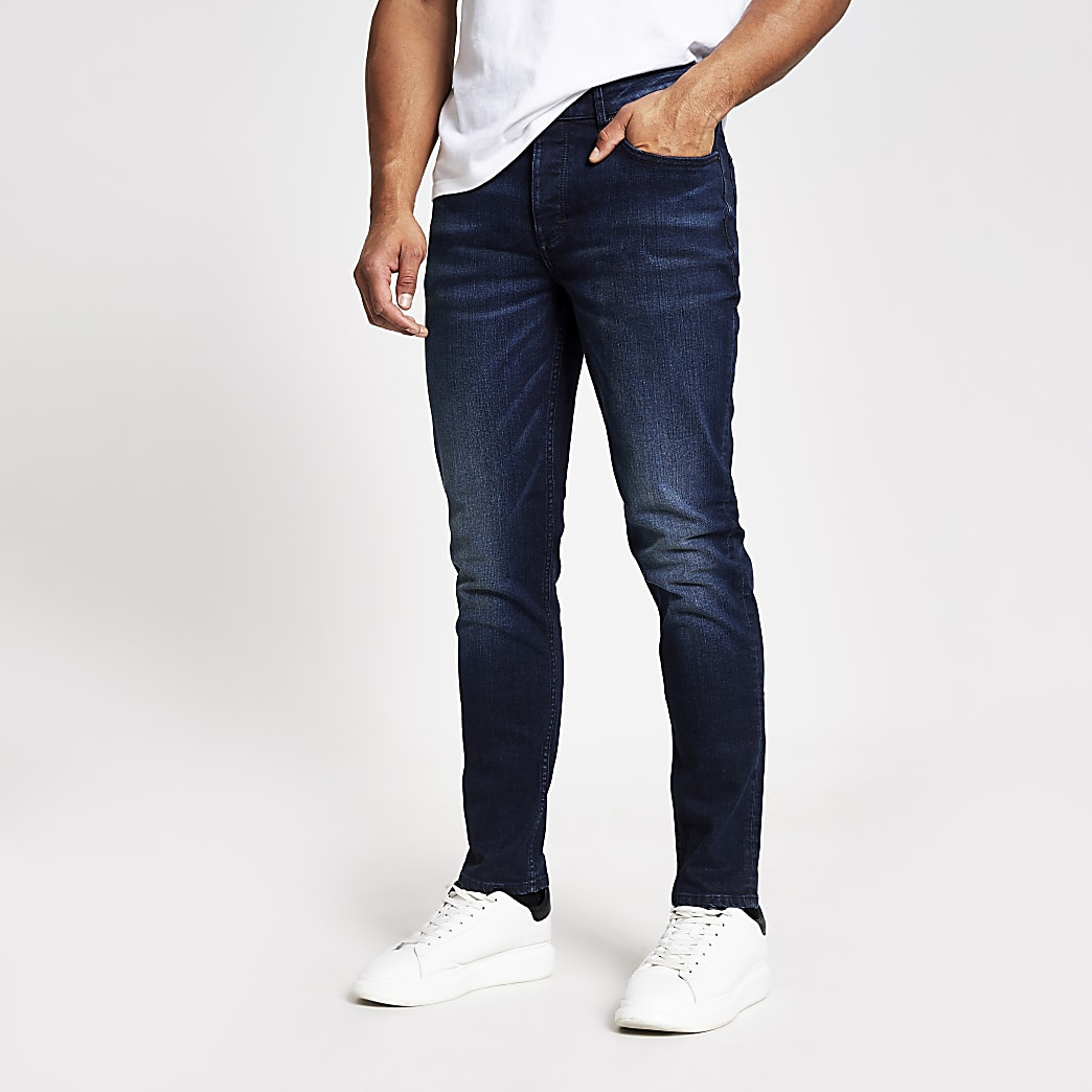 Dylan - Donkerblauwe smalle stretchjeans