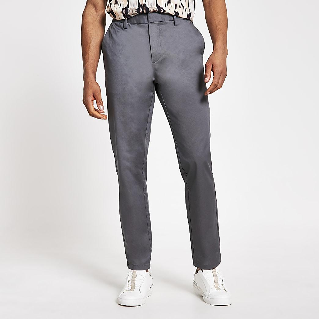 Pantalon chino slim gris