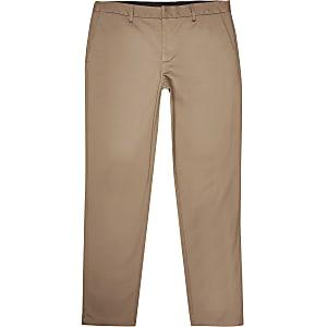 Big and Tall - Pantalons chinés slim bruns