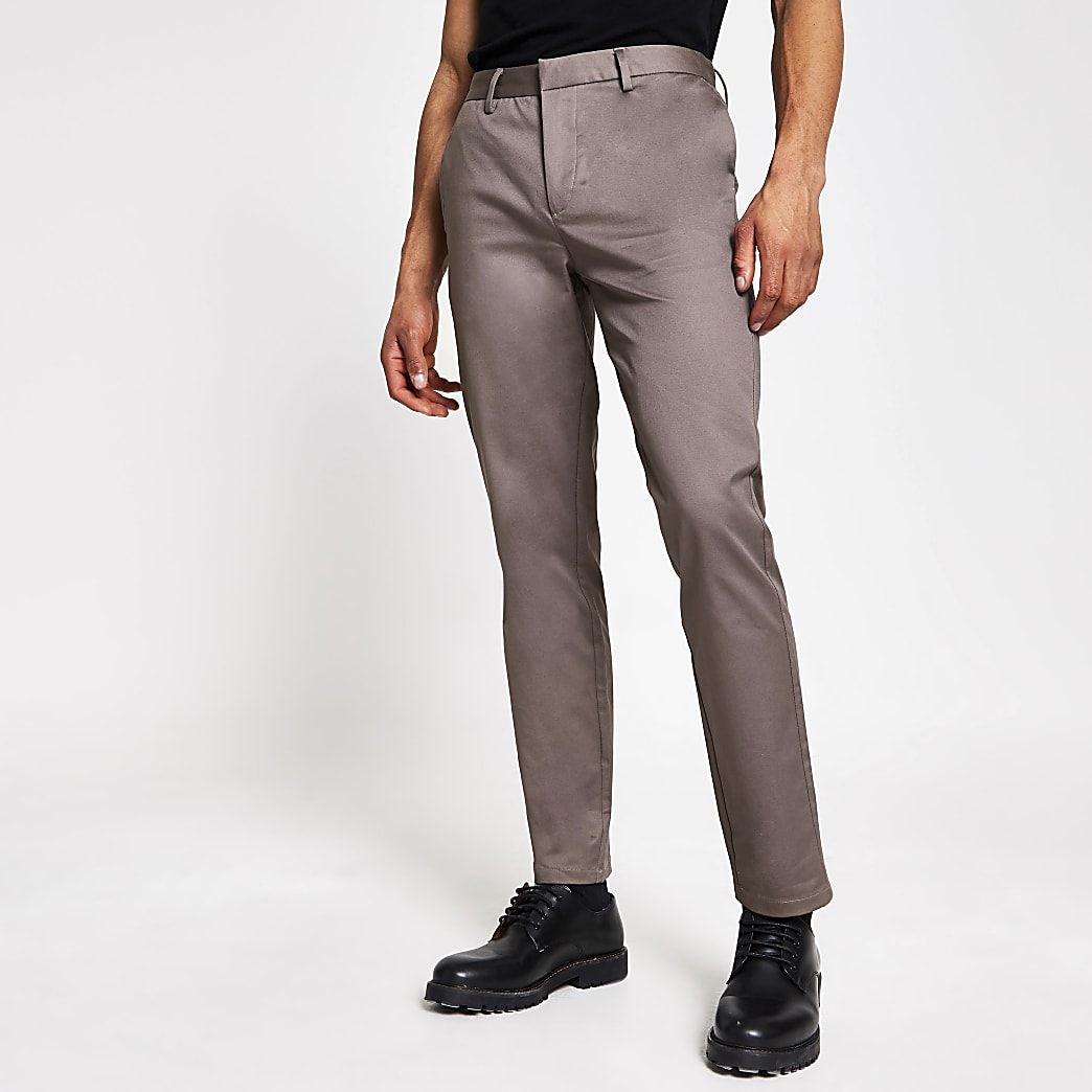 Purple slim fit chino trousers