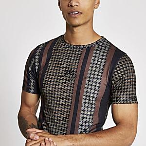 Braunes, kariertes Muscle Fit T-Shirt in Blockfarben