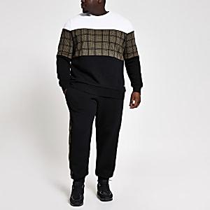 Big and Tall – Schmal geschnittenes, kariertes Sweatshirt in Blockfarben