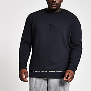 Maison Riviera - Big and Tall marineblauwe slim-fit sweater