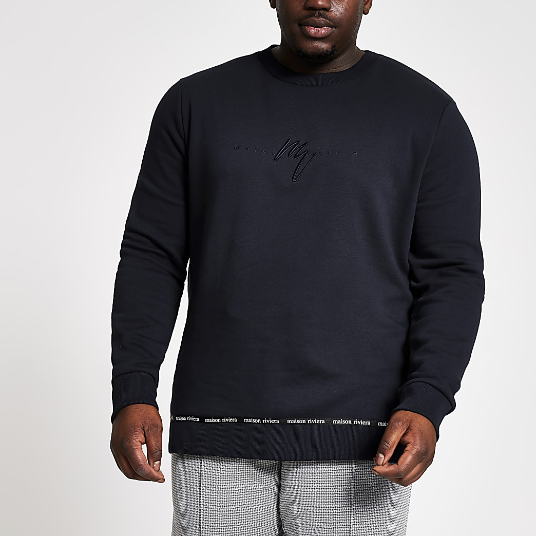 Maison Riviera - Big and Tallmarineblauwe slim-fit sweater