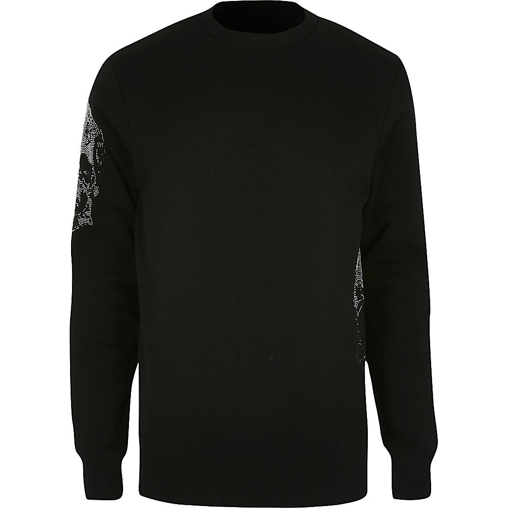 Big and Tall - Slim-fit sweater met doodshoofdprint