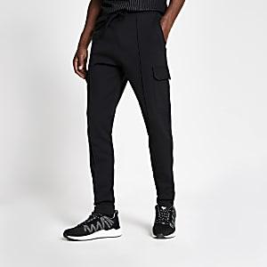 Zwarte slim-fit utility joggingbroek