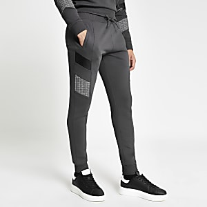 Maison Riviera – Graue Slim Jogginghose in Blockfarben