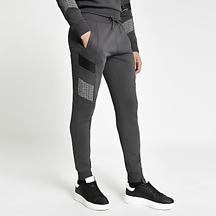 Grey blocked Maison Riviera slim joggers