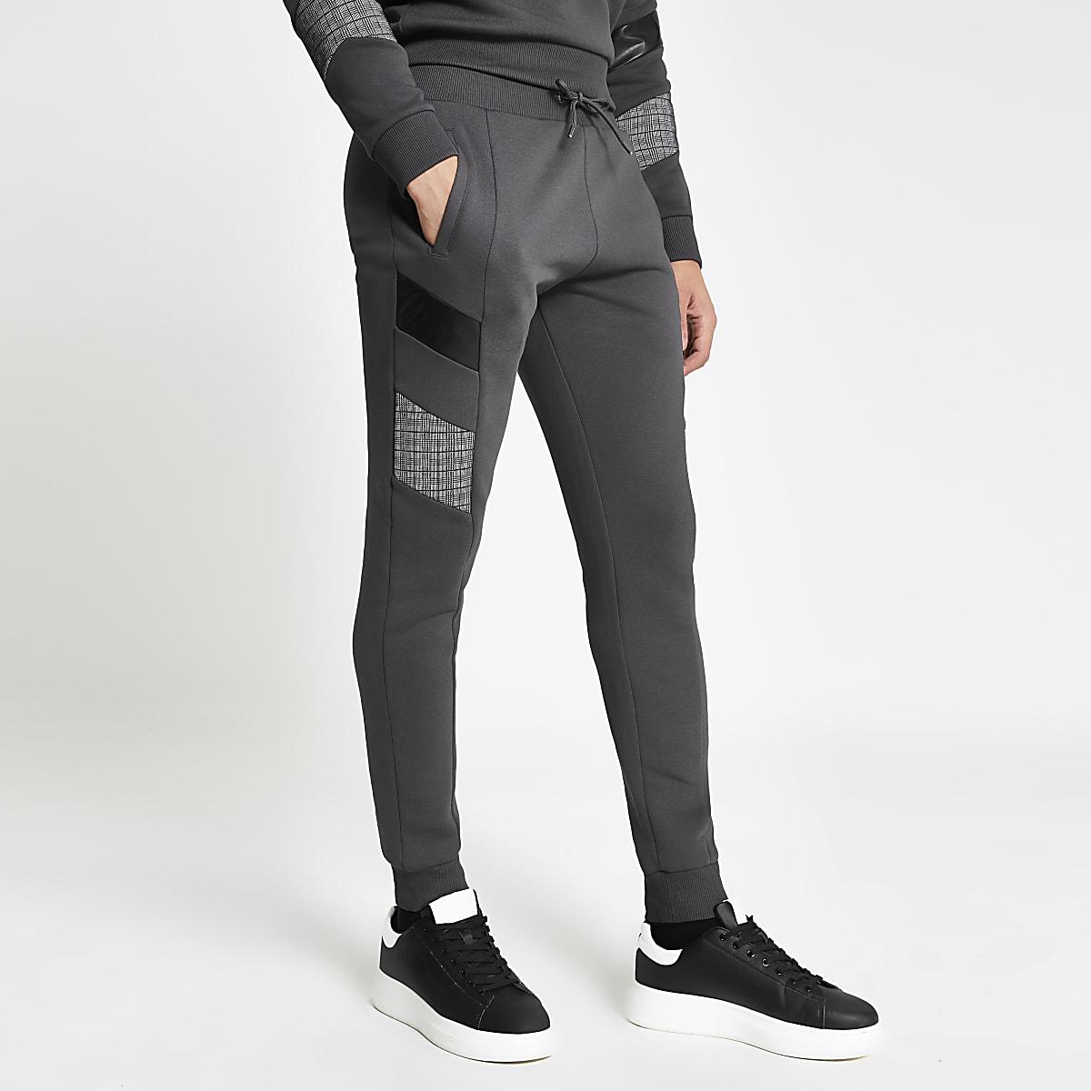 Grey blocked Maison Riviera slim joggers