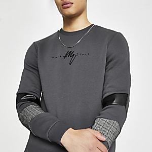 Maison Riviera - Grijze sweater met kleurvlakken
