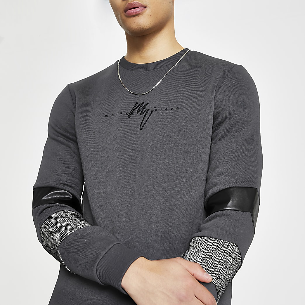Maison Riviera grey blocked sweatshirt