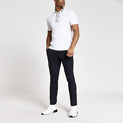 MCMLX white half zip slim fit polo shirt
