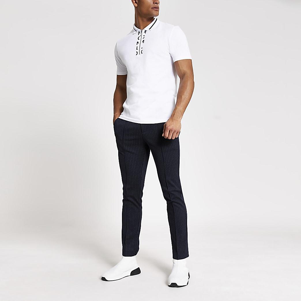 MCMLX – Polo blanc slimà col zippé